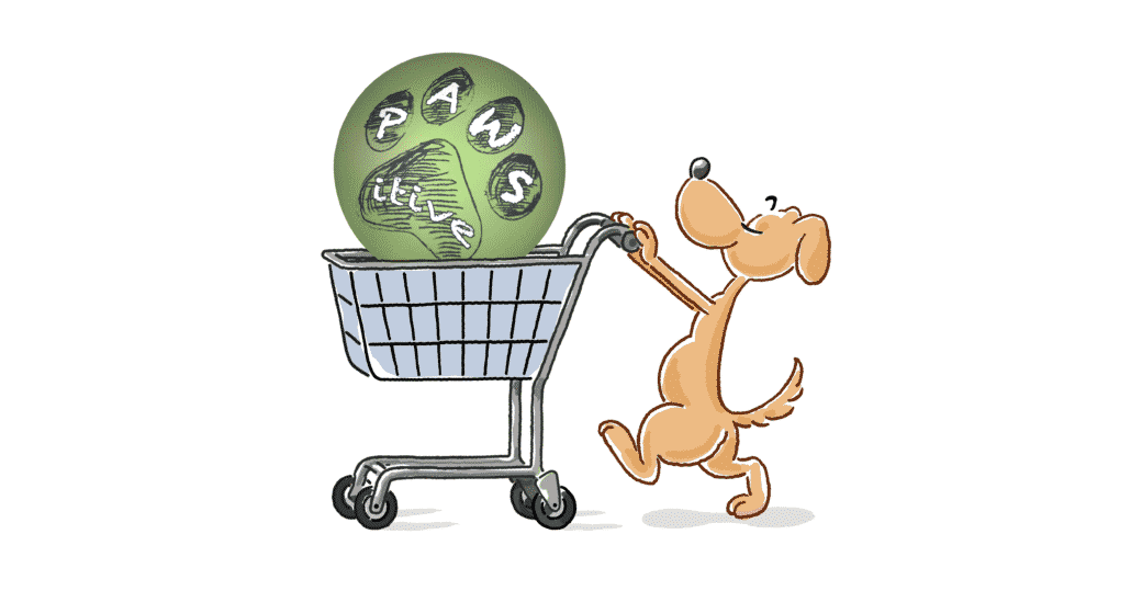 Hund geht einkaufen und schiebt Einkaufswagen mit Ball